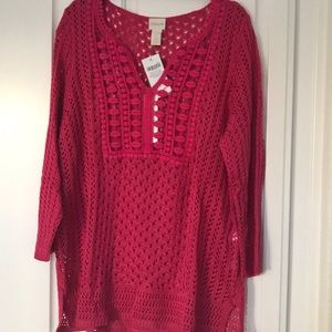NWT- Chico's size 2 PINK summer sweater.
